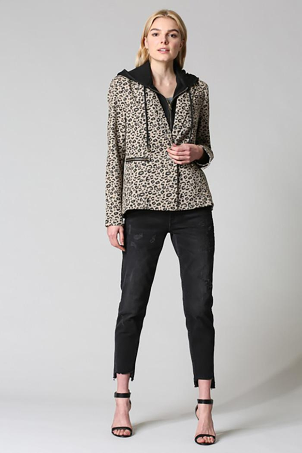 Fate Washed Cotton Leopard Blazer Detachable Hood - Front Full Image