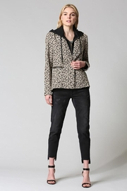 Fate Washed Cotton Leopard Blazer Detachable Hood - Front full body