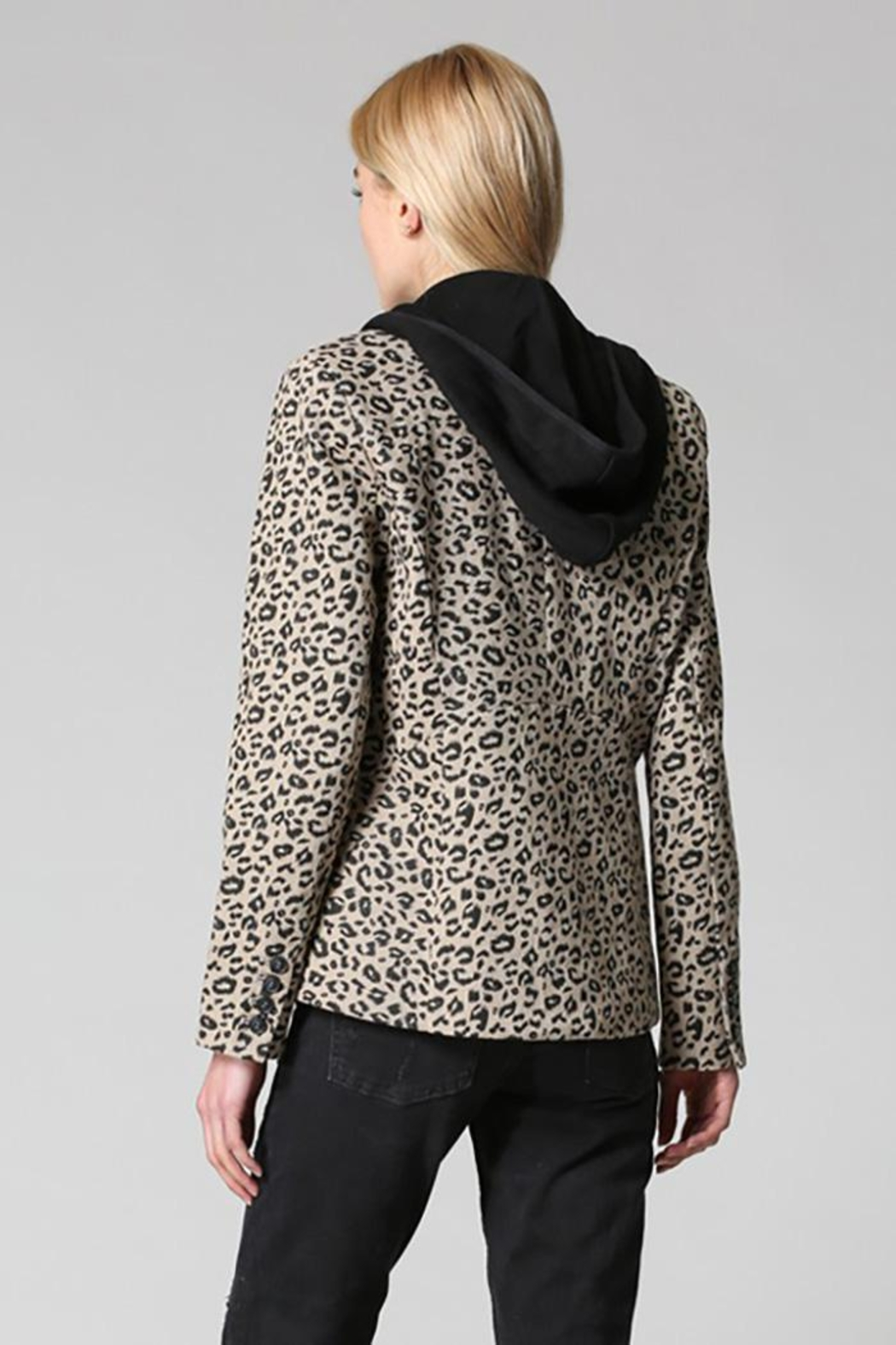 Fate Washed Cotton Leopard Blazer Detachable Hood - Side Cropped Image