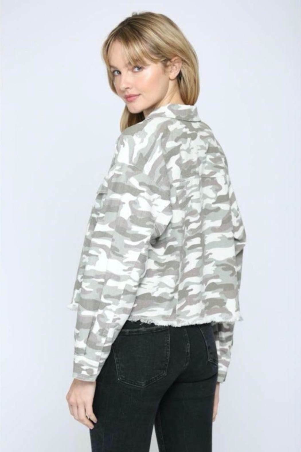 FATE by LFD Camo Printed Crop Boxy Jacket - Front Full Image