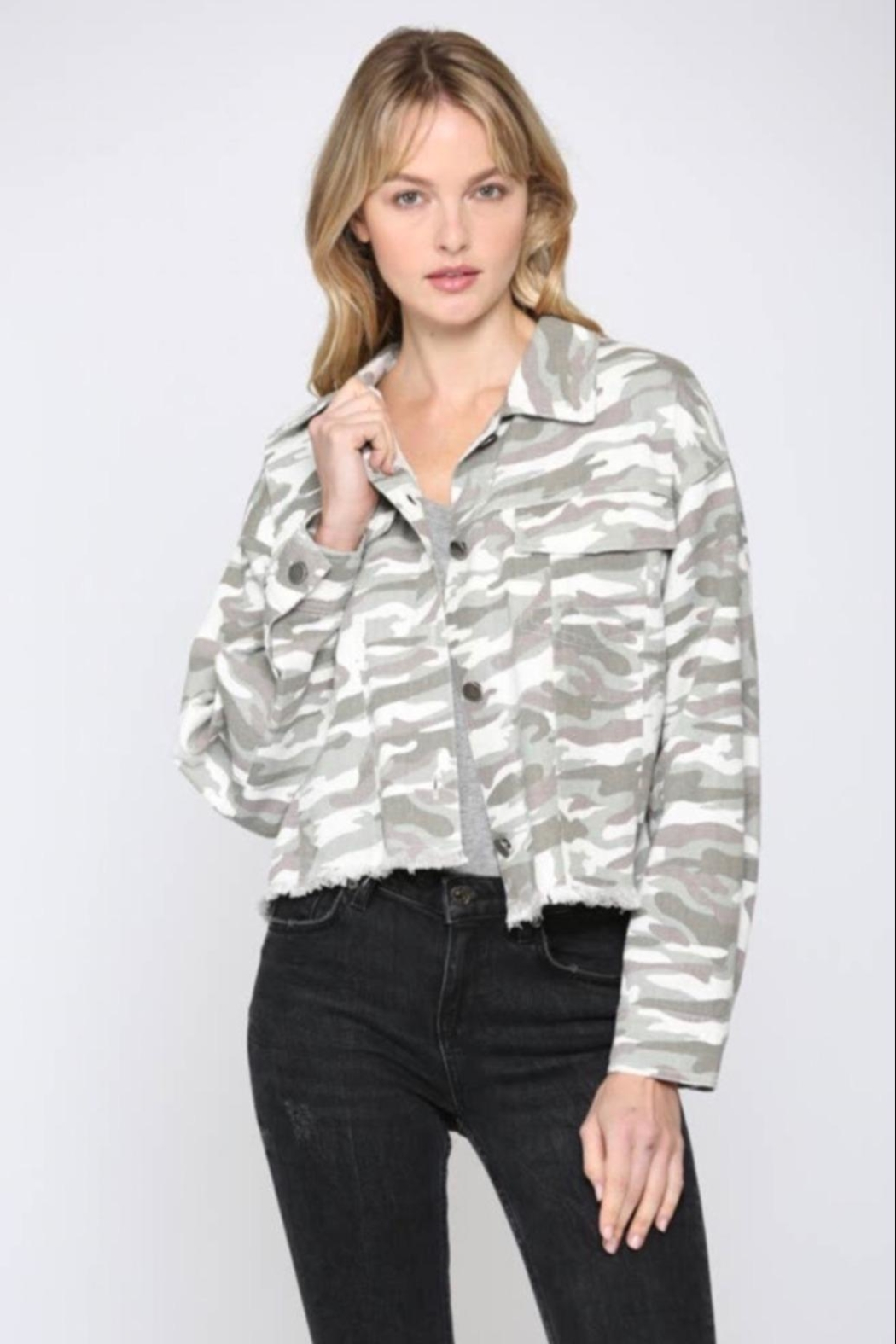 FATE by LFD Camo Printed Crop Boxy Jacket - Main Image