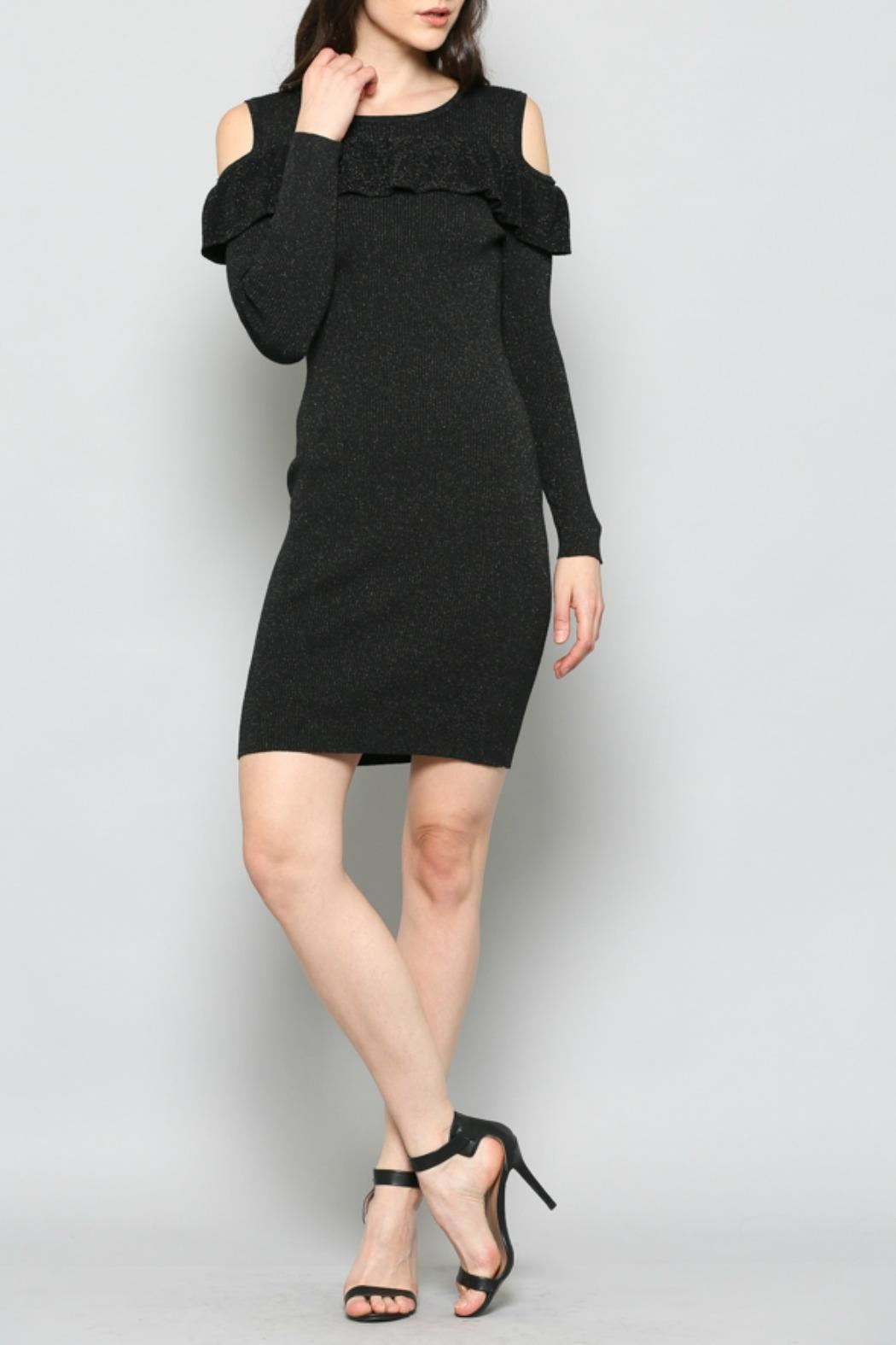 FATE by LFD Cold-Shoulder Rib-Knit Dress - Front Cropped Image