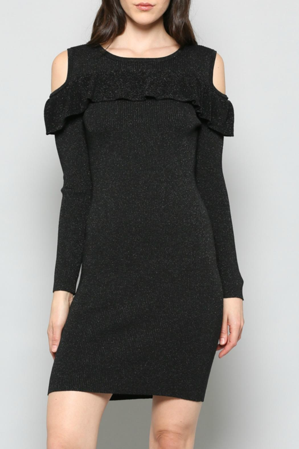 FATE by LFD Cold-Shoulder Rib-Knit Dress - Front Full Image