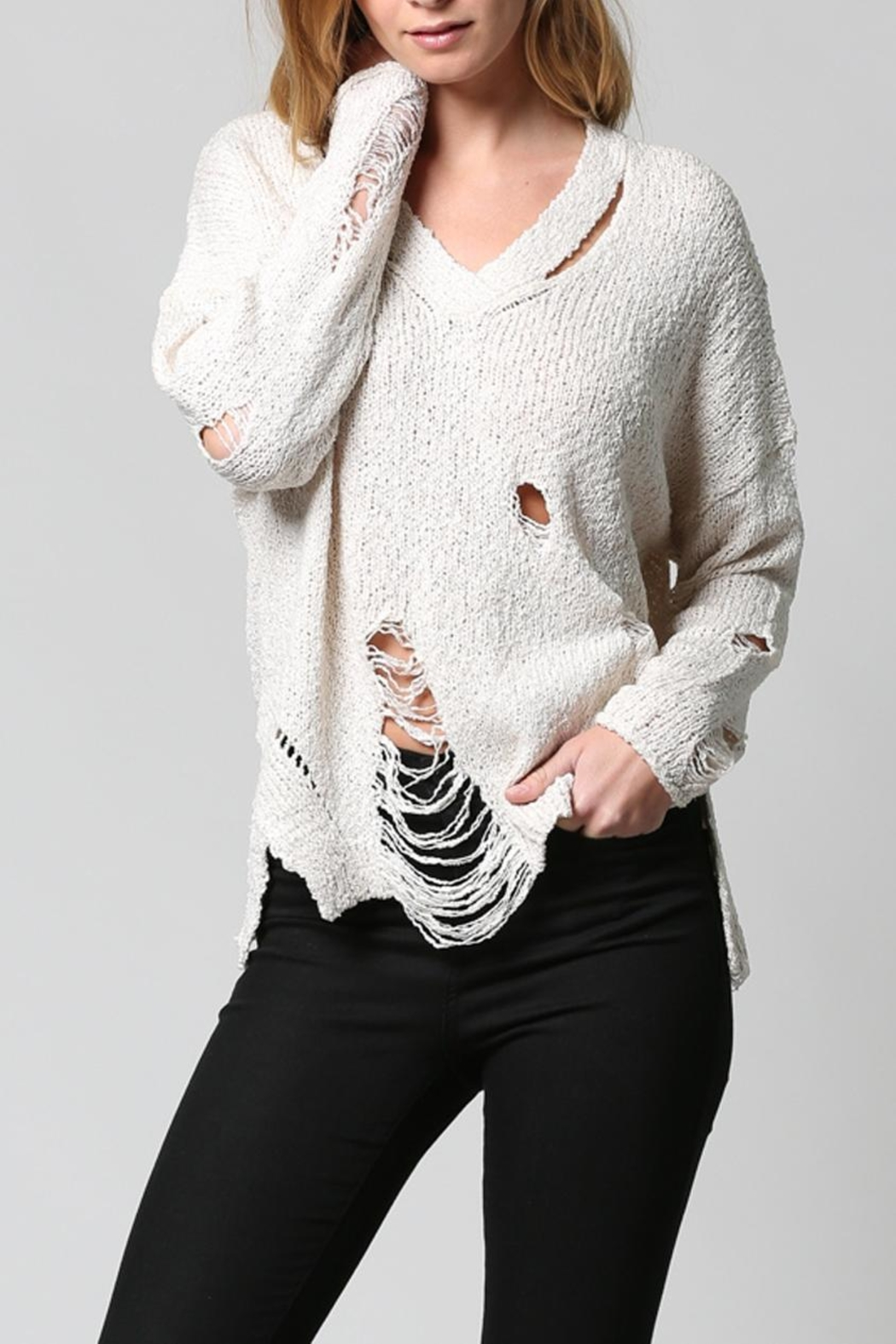 FATE by LFD Distressed Sweater - Front Full Image