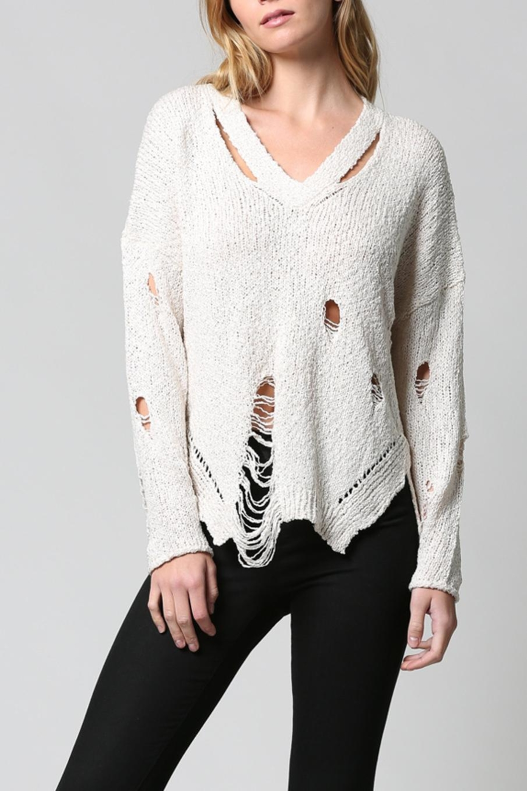 FATE by LFD Distressed Sweater - Back Cropped Image