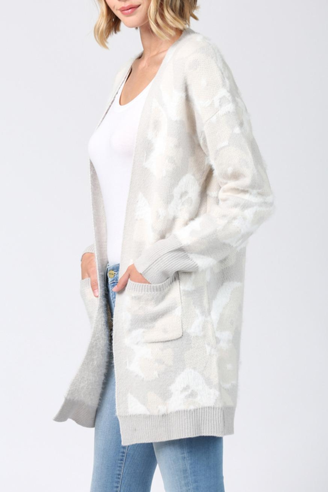 FATE by LFD Fuzzy Camo Cardigan - Front Full Image