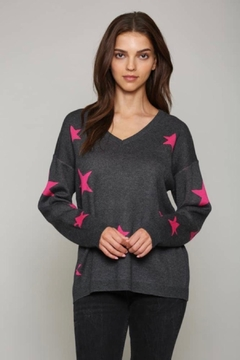 FATE by LFD Star-Print V-Neck Pullover - Product List Image