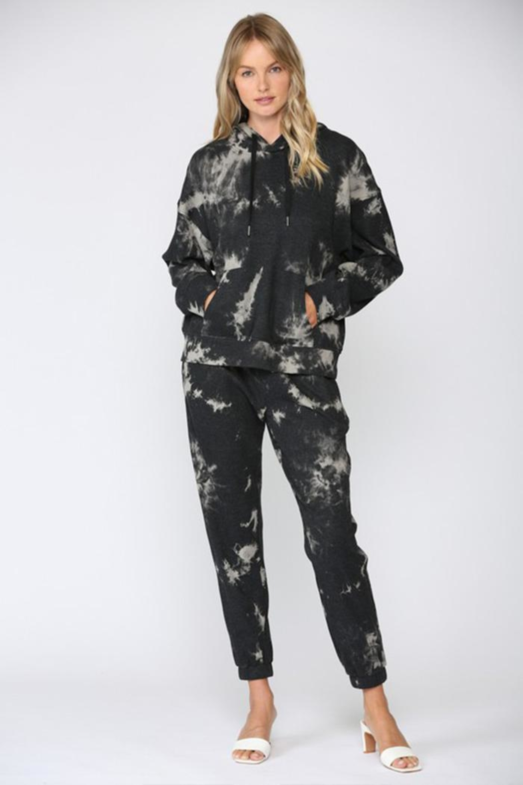 Fate Inc. Drawstring Tie-Dye Sweater - Back Cropped Image