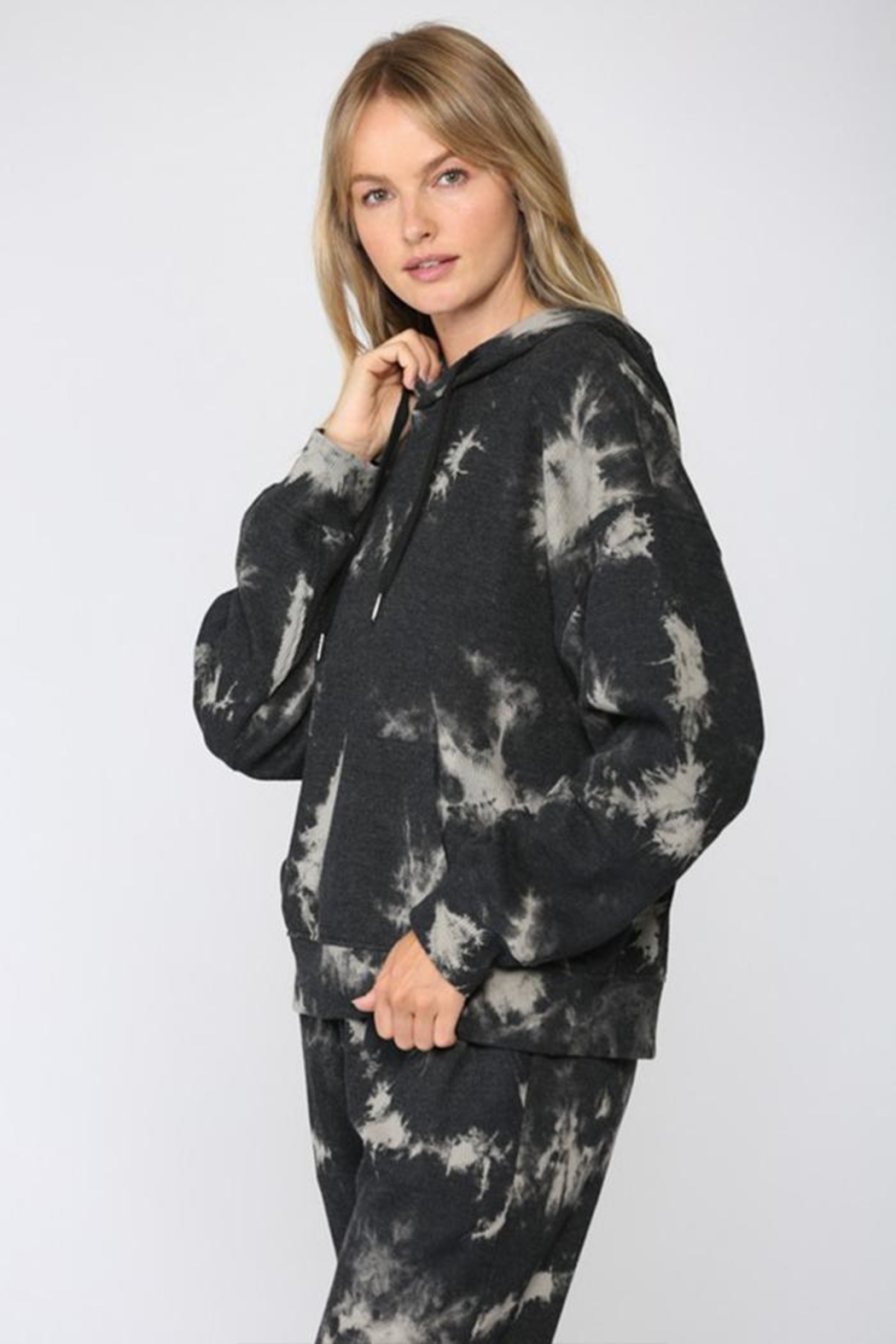 Fate Inc. Drawstring Tie-Dye Sweater - Front Full Image