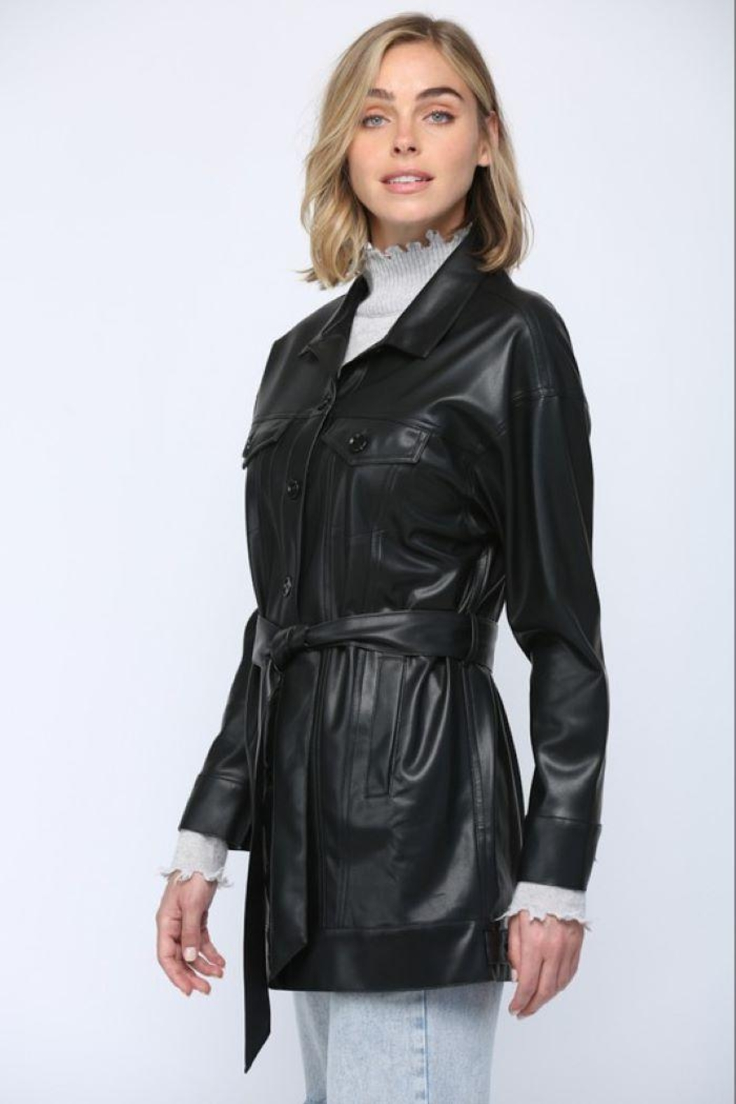Fate Inc. Faux Leather Jacket - Side Cropped Image
