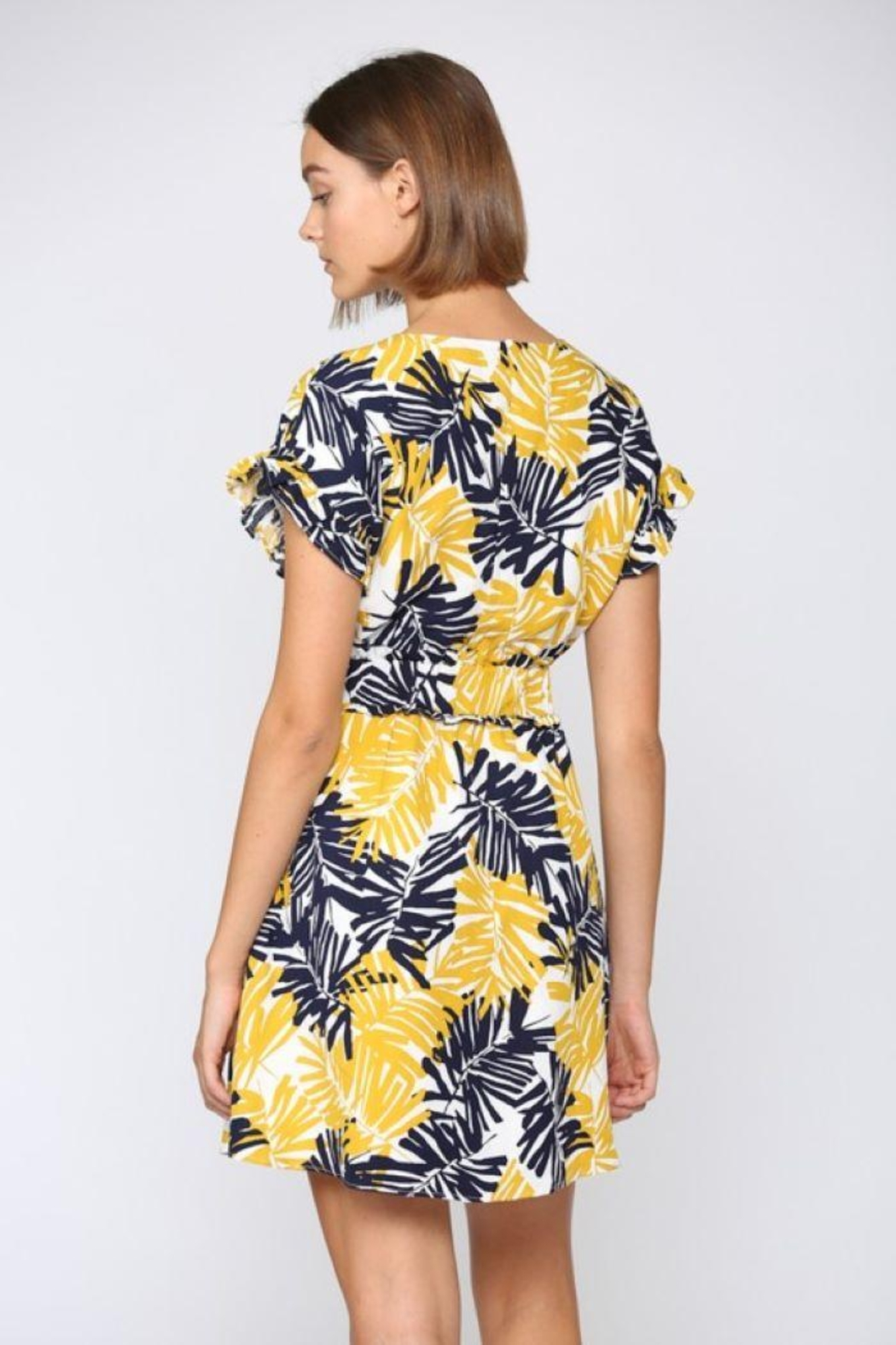 Fate Inc. Palm Tree Printed Linen Dress - Back Cropped Image