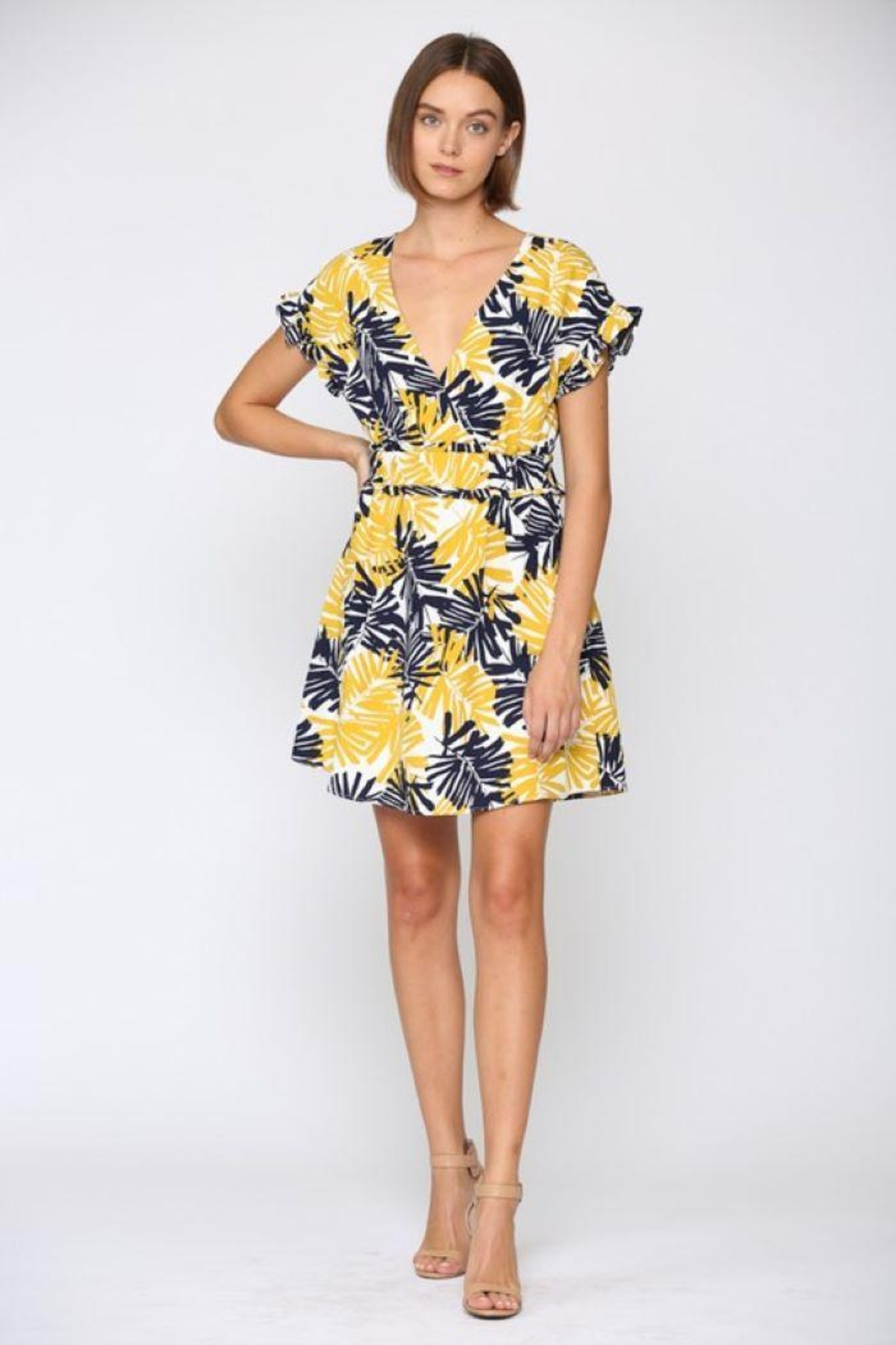 Fate Inc. Palm Tree Printed Linen Dress - Front Full Image