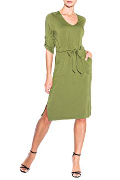 Alison Sheri Fatigue Green Knit Dress - Alternate List Image