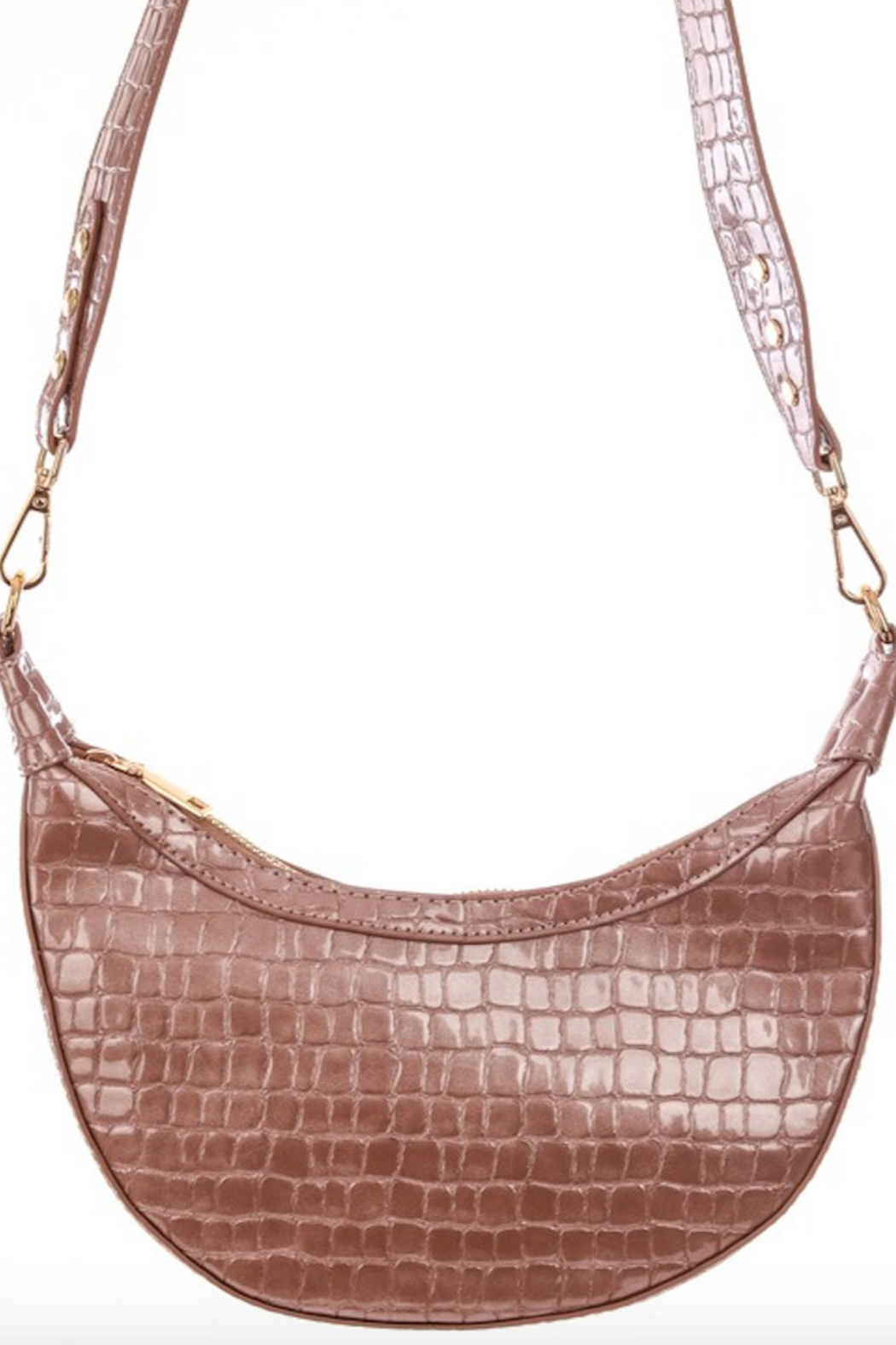 Anarchy Street Faux Alligator Croissant Hand Bag - Front Full Image