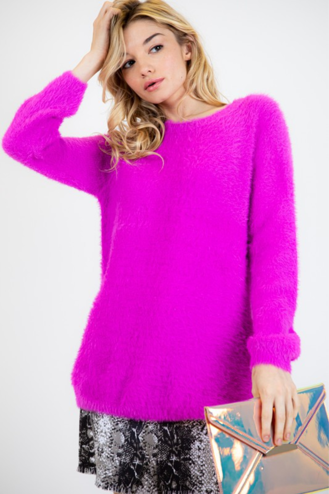 Fashion District Faux Angora Sweater - Front Cropped Image
