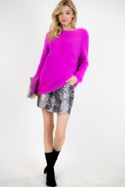 Fashion District Faux Angora Sweater - Front full body
