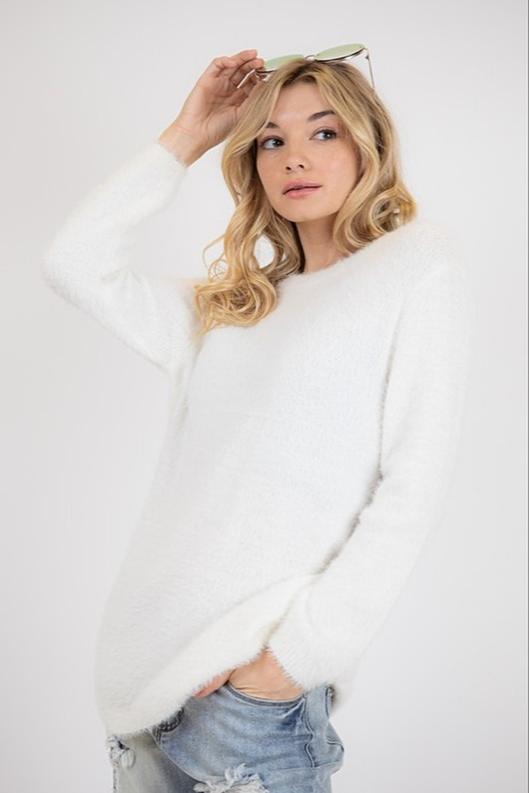 Fashion District Faux Angora Sweater - Front Full Image