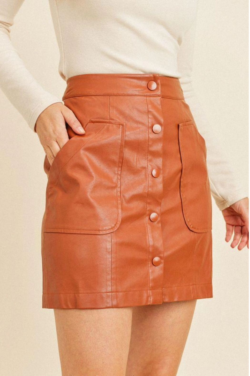 Paper Crane Faux Button Skirt - Back Cropped Image