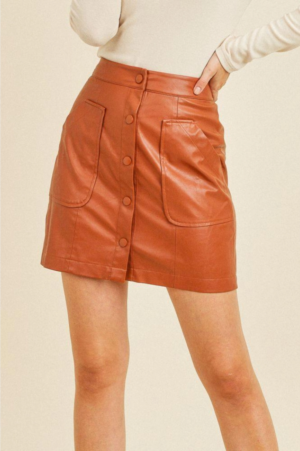 Paper Crane Faux Button Skirt - Side Cropped Image