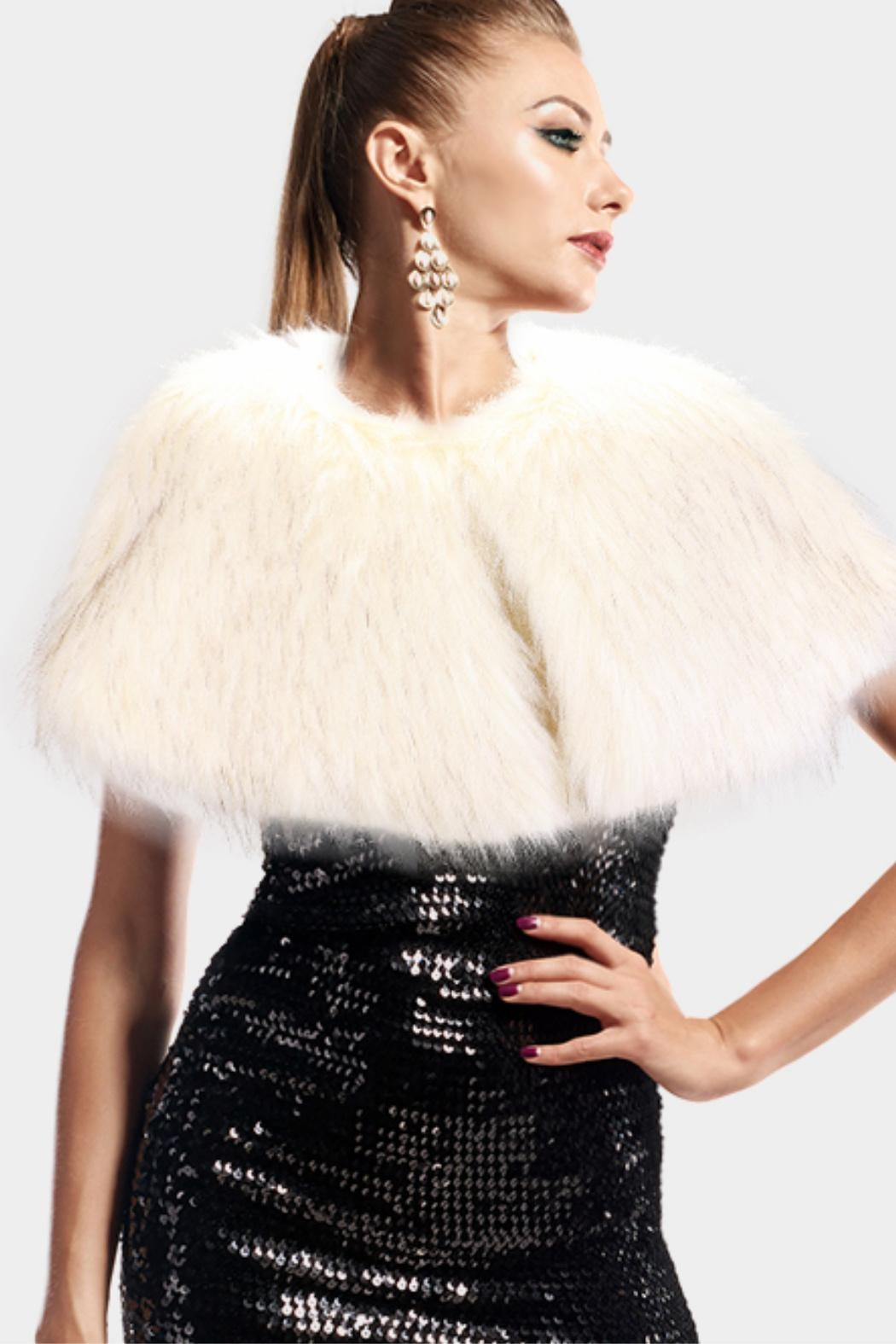 Embellish Faux Fur Cape - Front Cropped Image
