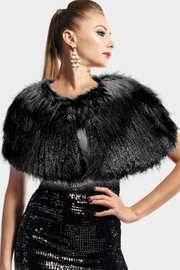 Embellish Faux Fur Cape - Front cropped
