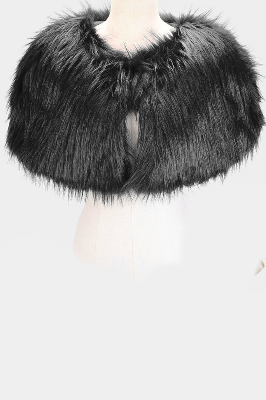 Embellish Faux Fur Cape - Front Full Image
