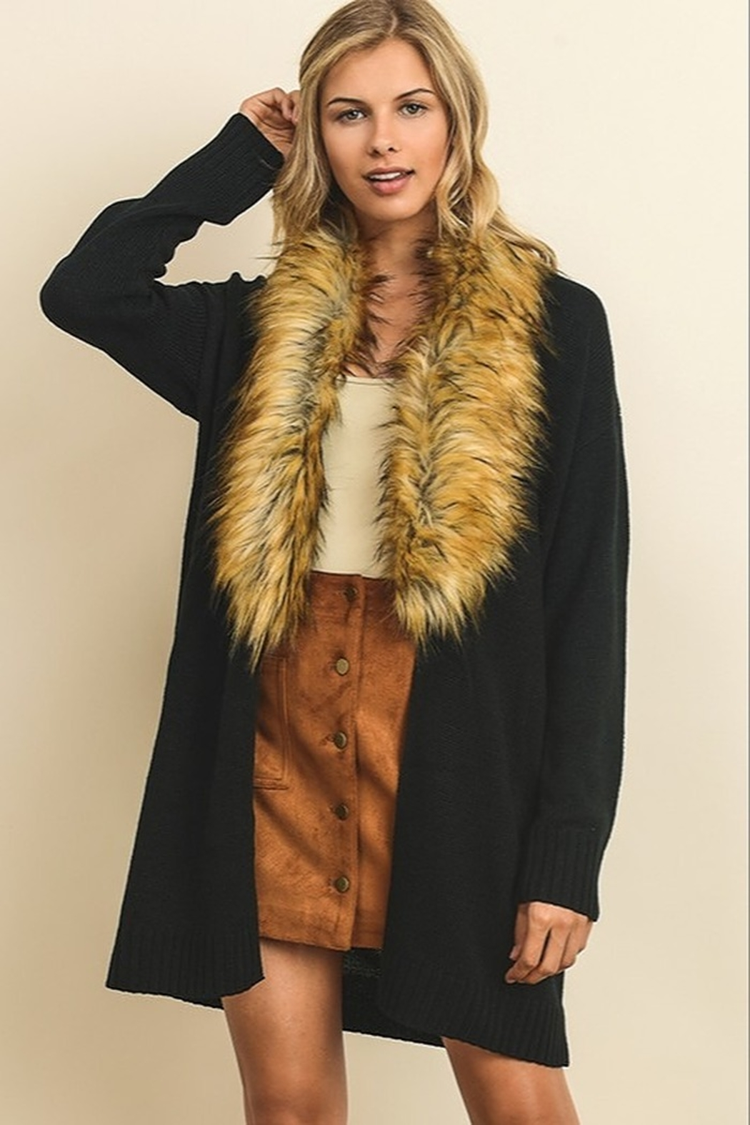 dress forum Faux Fur Collar Cardigan - Front Cropped Image