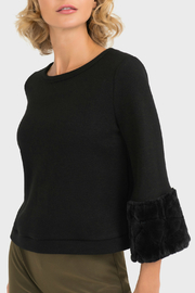 Joseph Ribkoff Faux Fur Cuff Sleeve Sweater - Product Mini Image