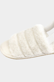 Lyn-Maree's  Faux Fur Elastic Slingback Strap Indoor Slide Slippers - Front cropped