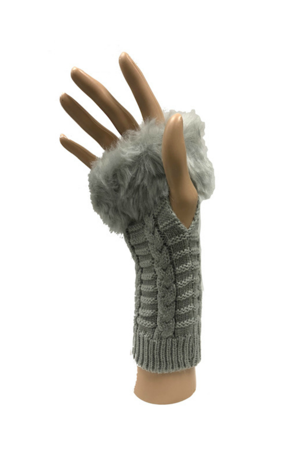 HaZe Apparel Faux Fur Fingerless Gloves - Main Image