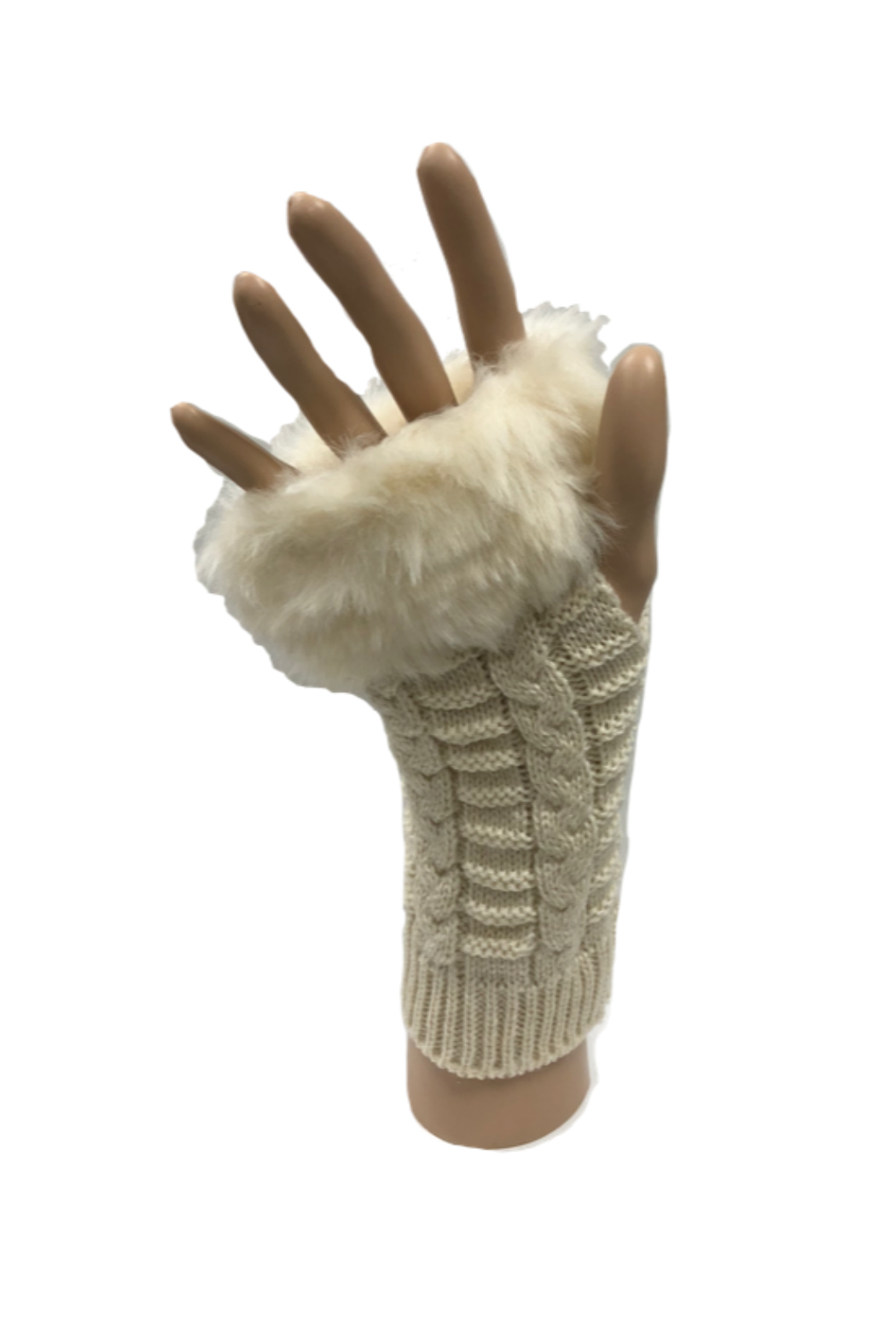 HaZe Apparel Faux Fur Fingerless Gloves - Front Cropped Image