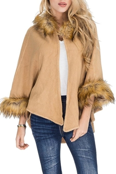 Cap Zone Faux Fur Hooded-Poncho - Product List Image