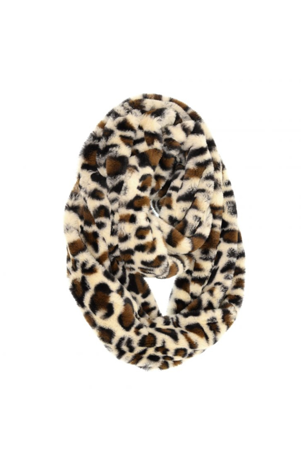 Joy Accessories Faux Fur Infinity Leopard Scarf - Front Cropped Image