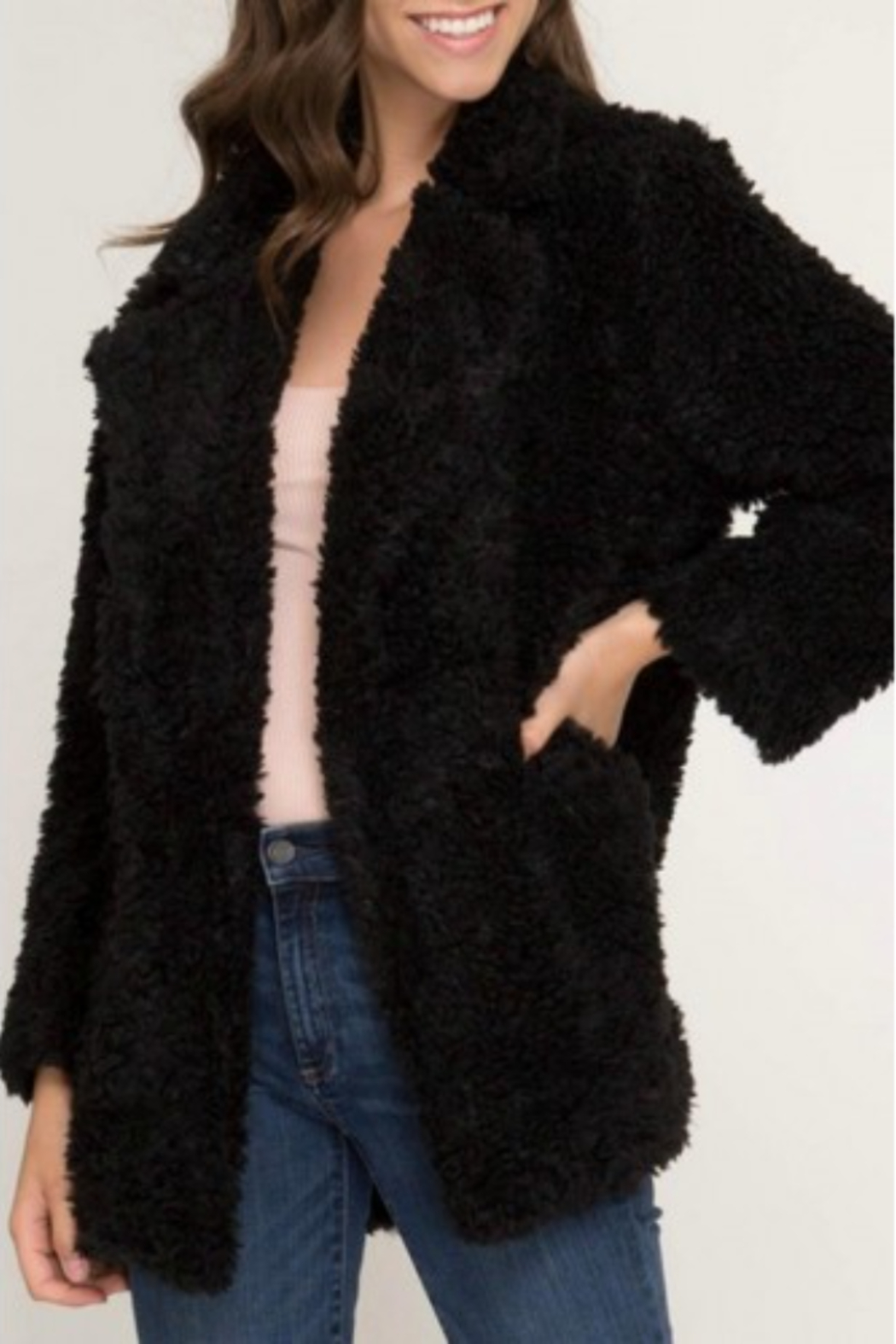 She and Sky Faux Fur Jacket with Pockets - Main Image