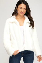 She + Sky Faux Fur Jacket w Pockets - Product Mini Image