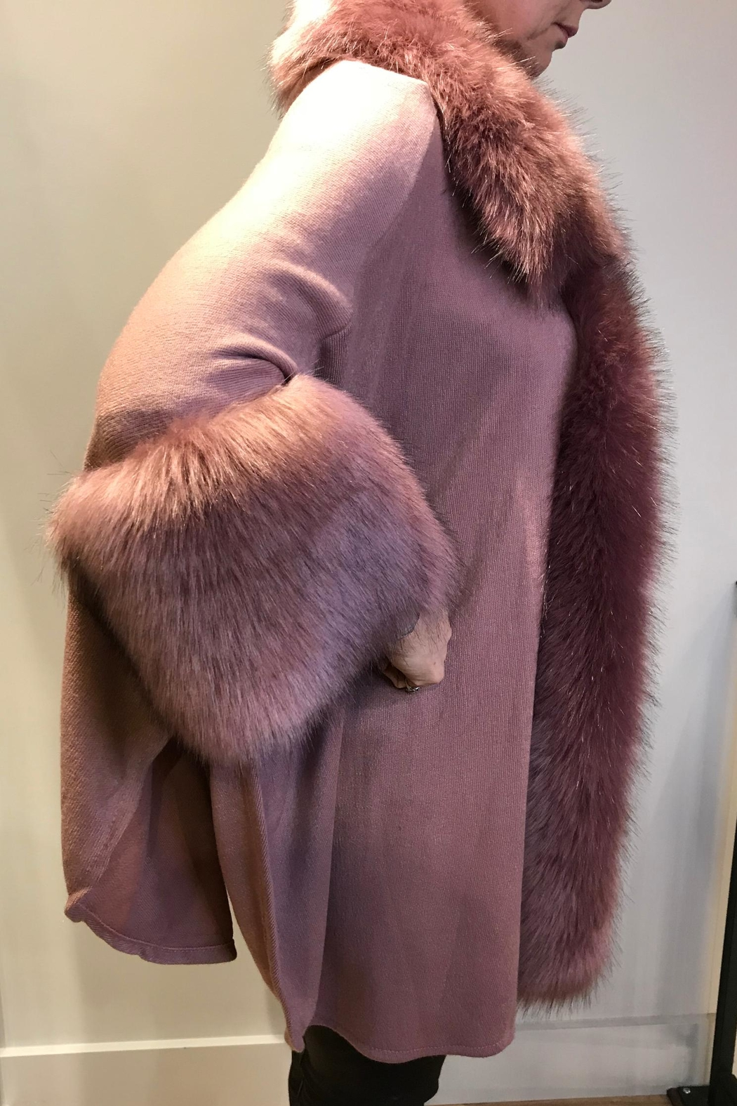 JayLey Faux-Fur Knitted Cape - Front Full Image