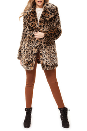 Dex Faux Fur Leopard Coat - Product Mini Image