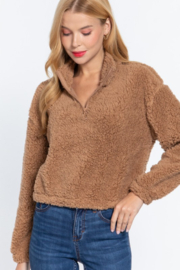 Active Basic faux fur mock neck pullover - Product Mini Image