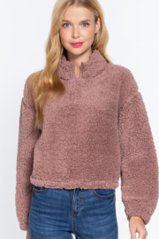 Active Basic faux fur mock neck pullover - Front full body