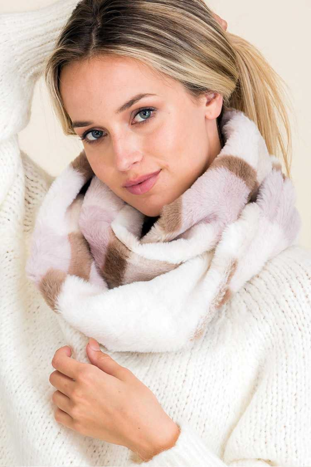 Lyn-Maree's  Faux Fur Plaid Scarf - Front Cropped Image