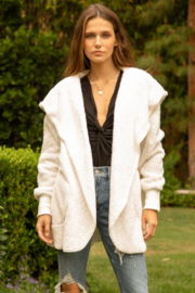 Hem and Thread faux fur plush hooded jacket with pockets - Product Mini Image