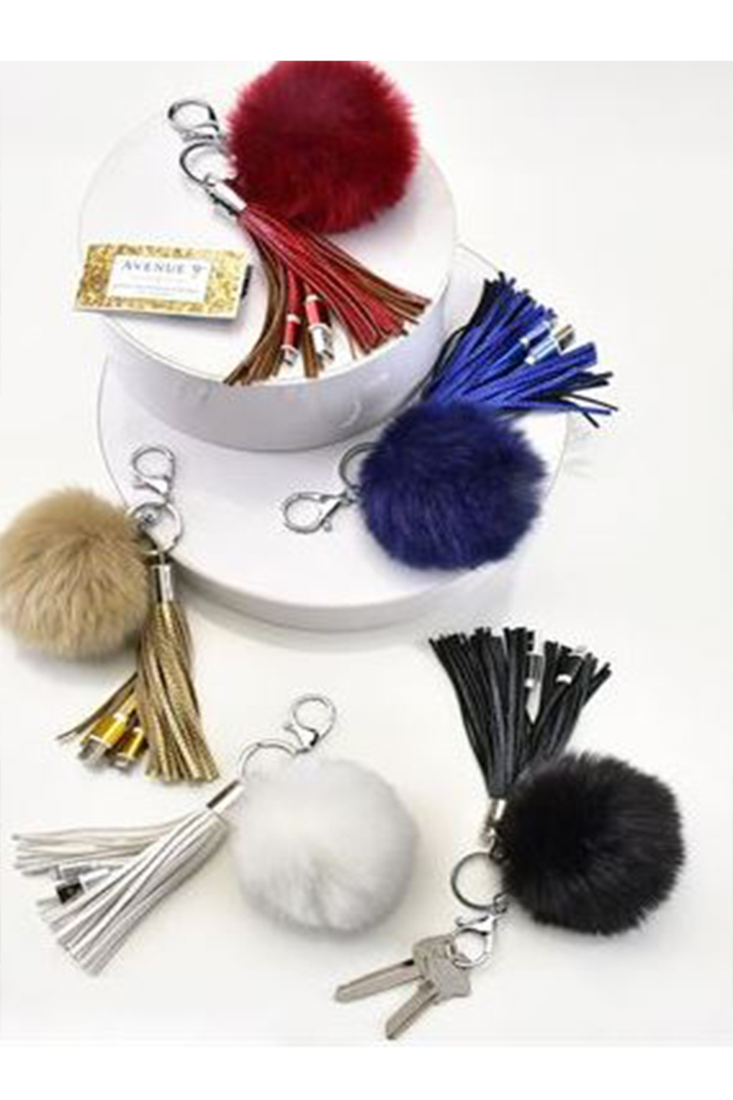 Gift Craft FAUX-FUR POM-POM & TASSEL PURSE ACCESSORY W/ USB CHARGER - Front Cropped Image