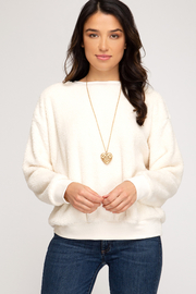 She + Sky Faux Fur Pullover Crew - Product Mini Image