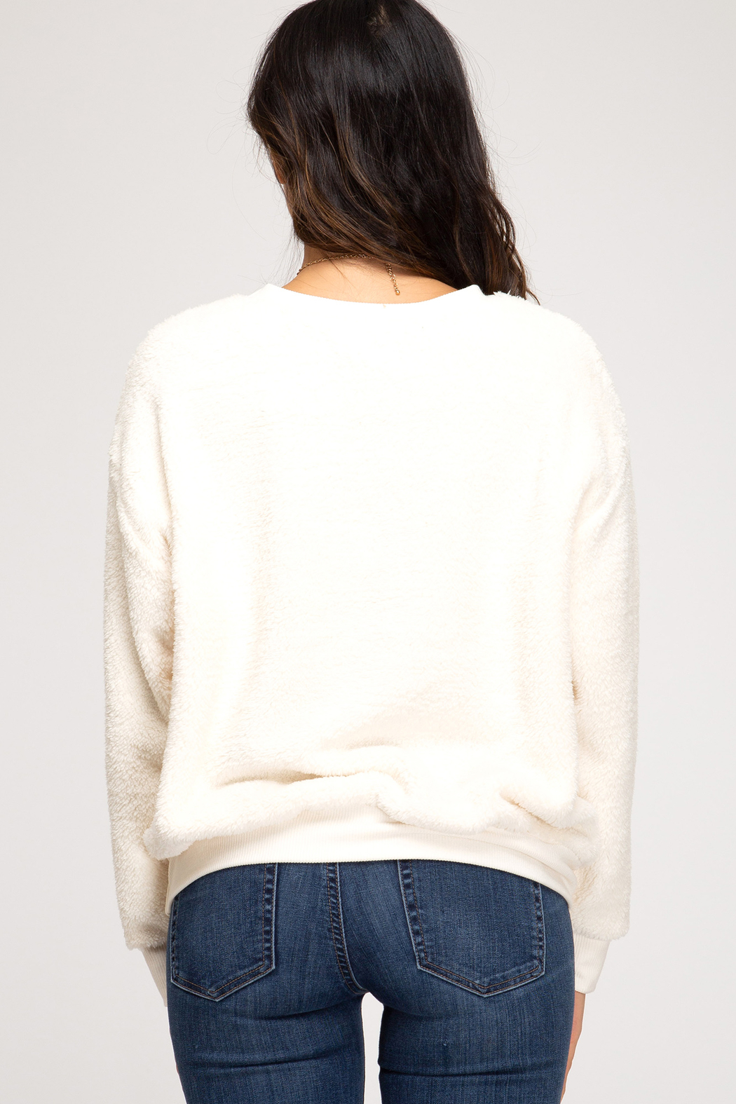 She & Sky  Faux Fur Pullover Crew - Front Full Image