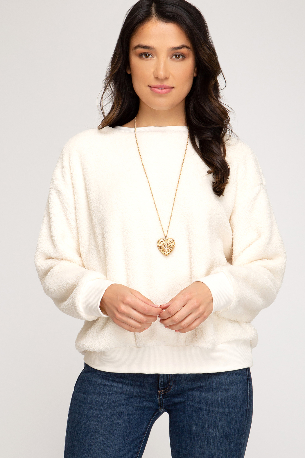 She & Sky  Faux Fur Pullover Crew - Main Image