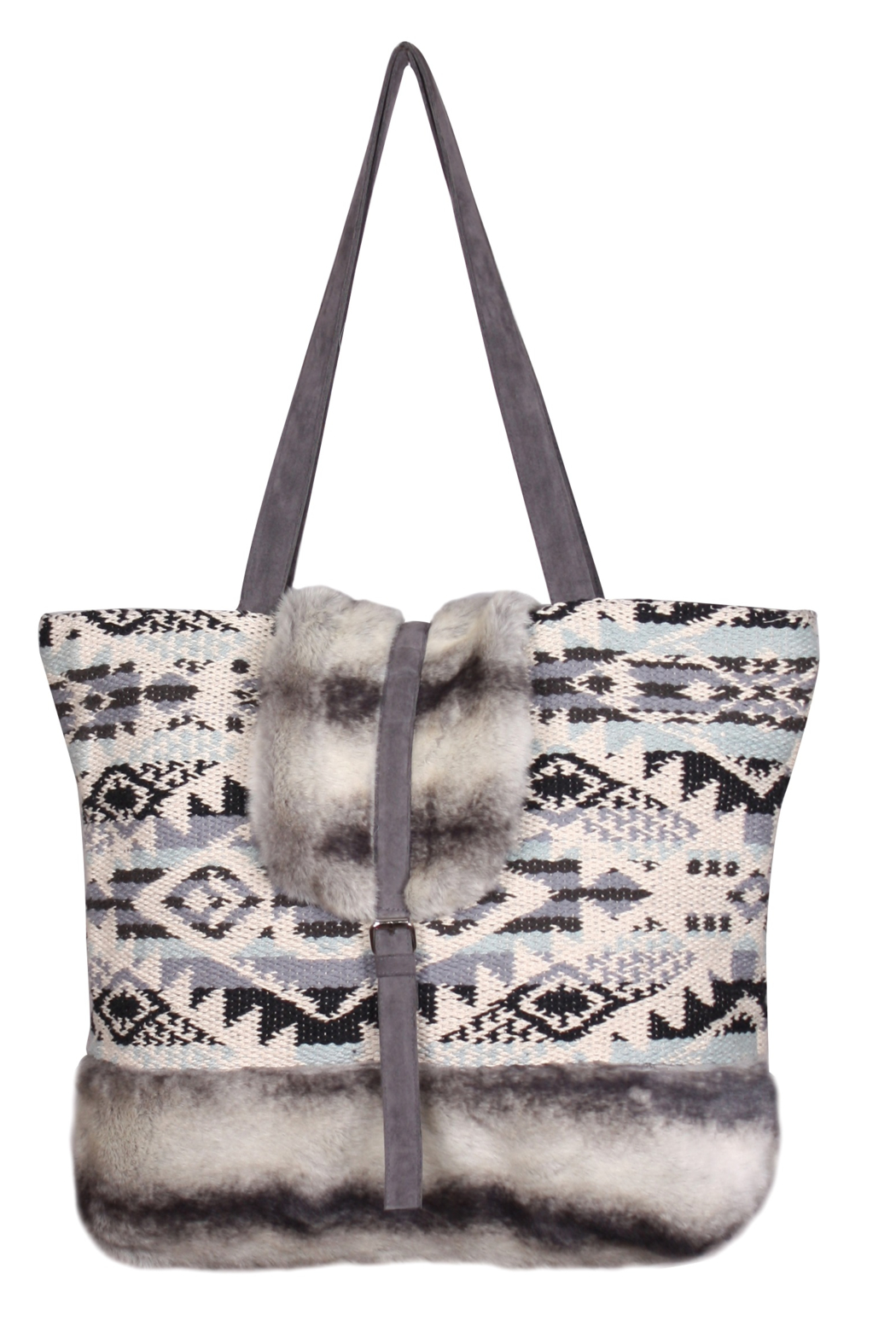 America & Beyond Faux Fur Shoulder Bag - Main Image