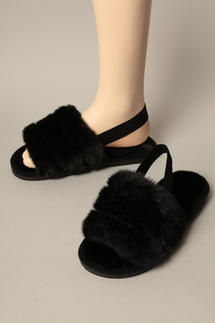 Fashion City Faux Fur Slippers w Strap - Product List Image