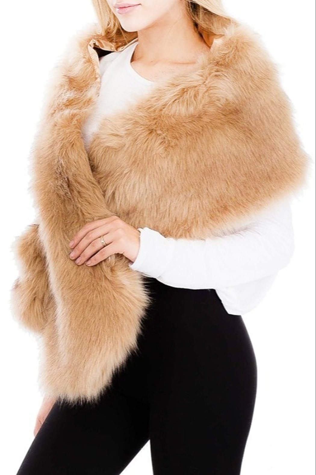 Cap Zone Faux Fur Stole - Main Image