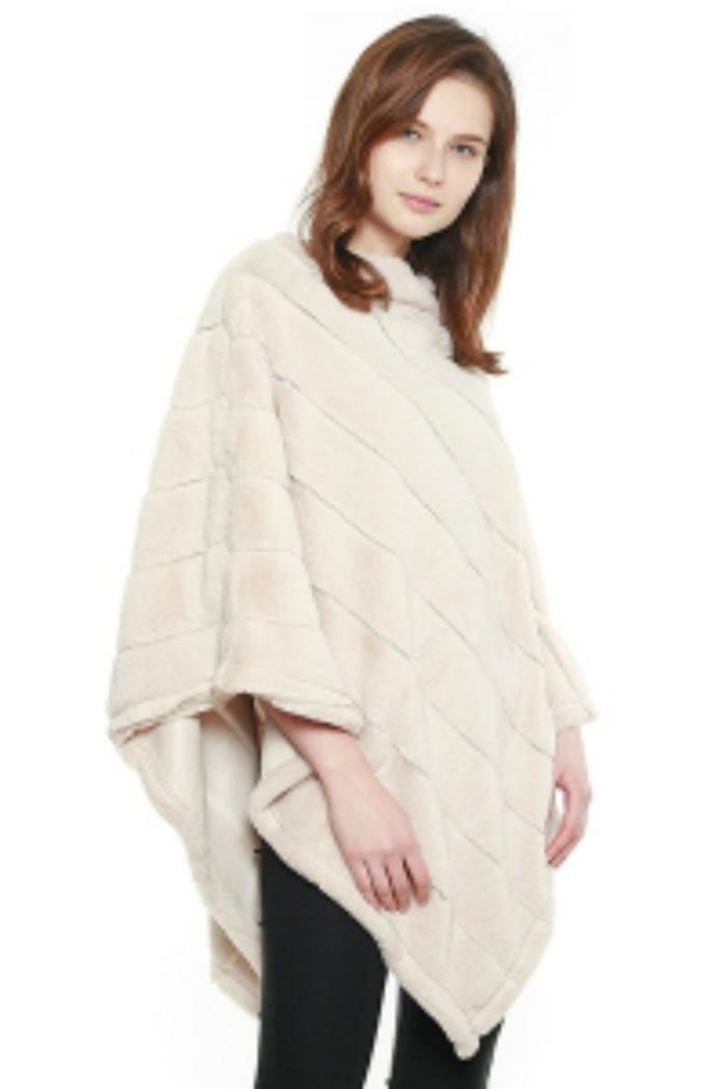 Coco + Carmen Faux-Fur Striped Poncho - Front Cropped Image