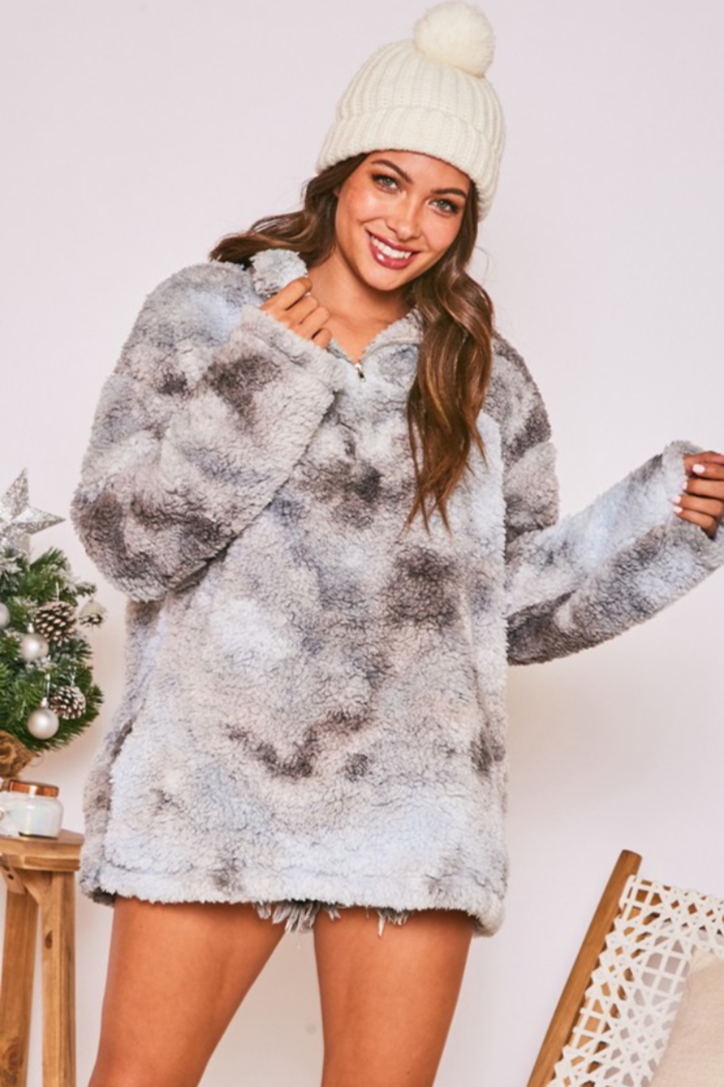 Peach Love California Faux Fur Tie Dye Sherpa - Main Image